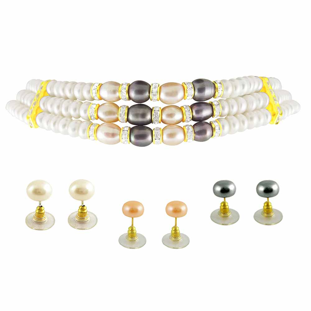 3line Multi color Choker Pearl Set