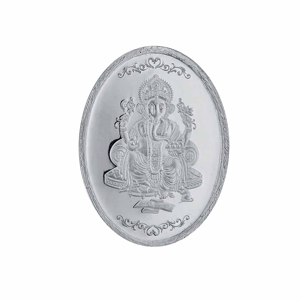 Sri Jagdamba pearls 50 grams 99.9% Ganesh Oval silver coin