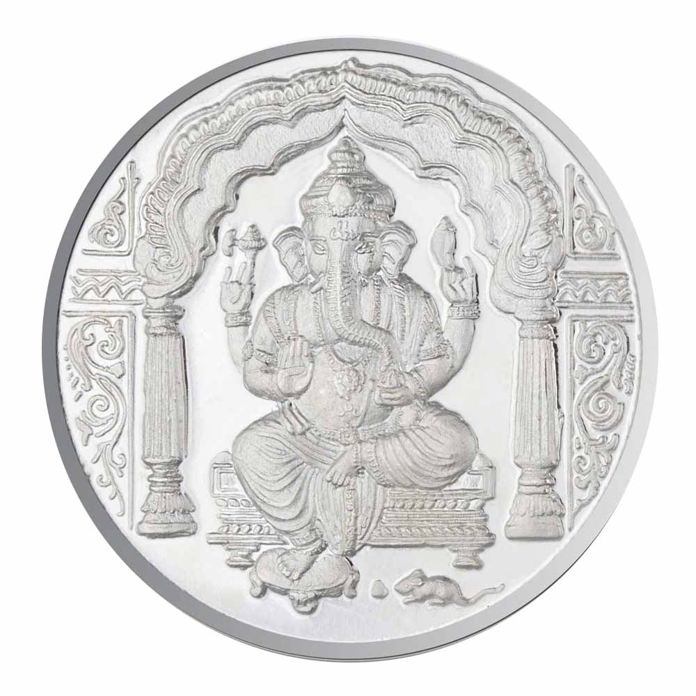 Jpearls 100 Grams Ganesh Silver Coin