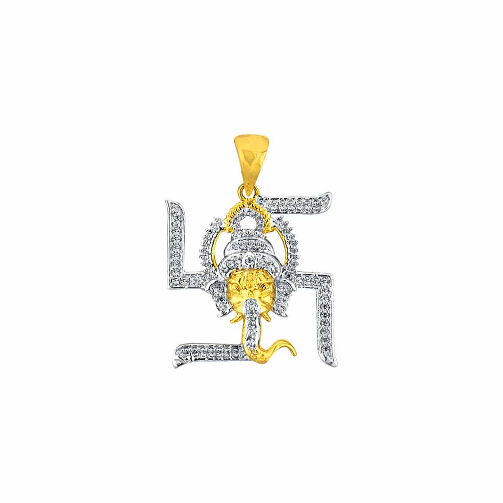Diamond Pendants-Sri Jagdamba Pearls Swastik Ganesh Diamond Pendant