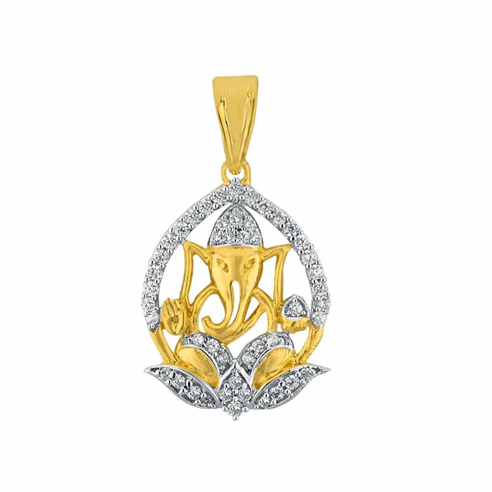 Sri Jagdamba Pearls Lotus Pitambara Diamond Pendant