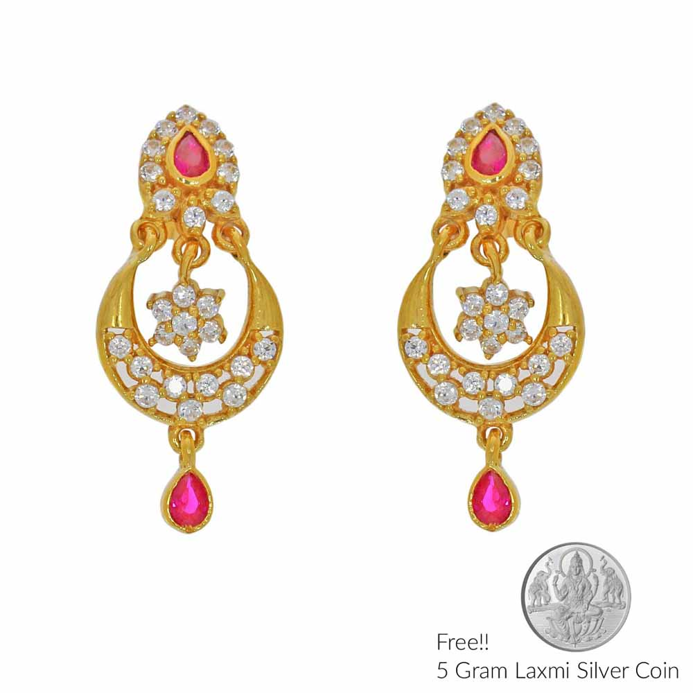 Gold Earrings-Fruition 22Kt Gold Earrings