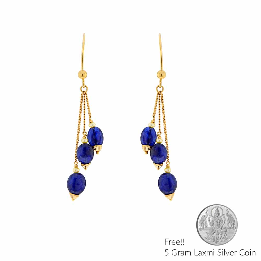 Gold Earrings-22Kt Blue Sapphire Gold Hangings