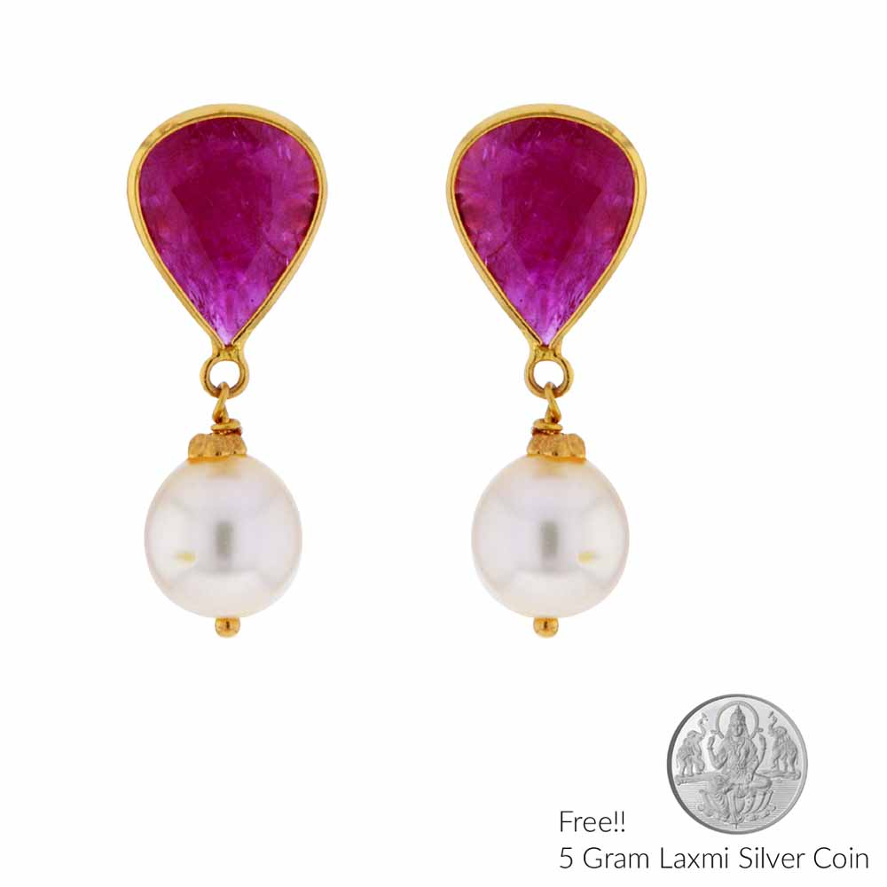 Gold Earrings-22Kt (916) Ruby Gold Earrings
