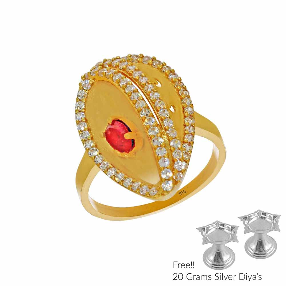 22Kt Queen Zenobia Gold Finger Ring
