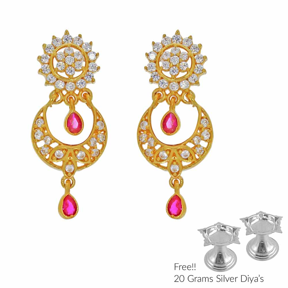 Gold Earrings-Twinkling 22Kt Gold Earrings