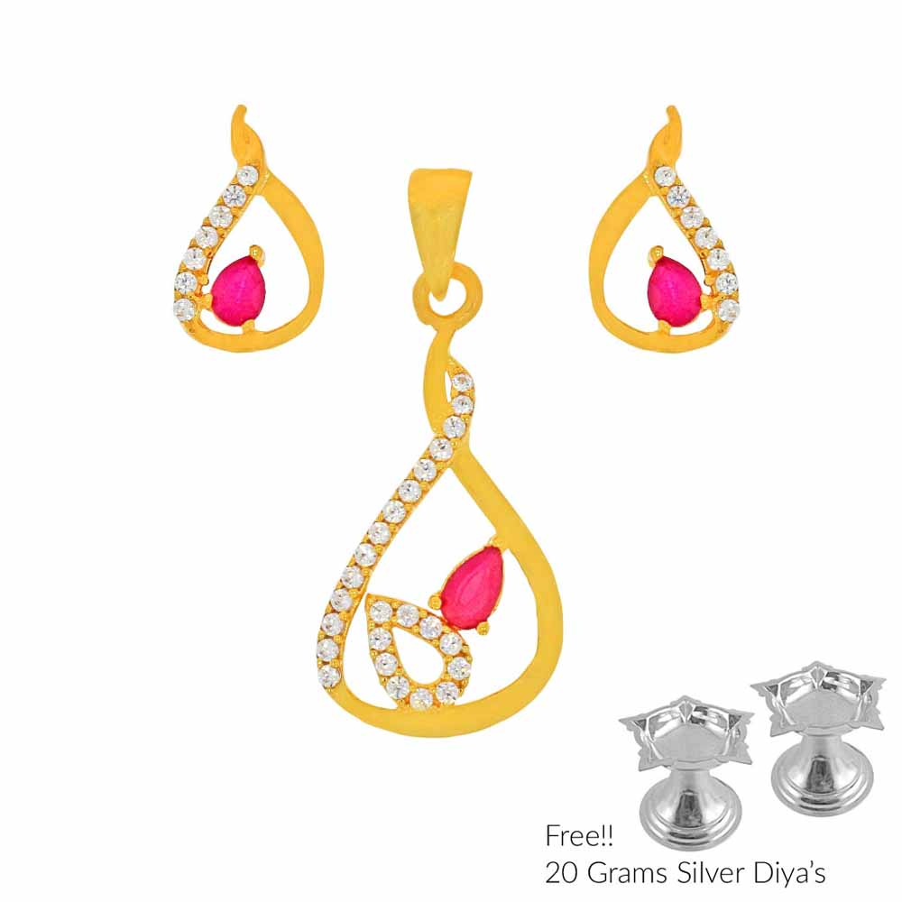 Gold Pendants-Nicety 22Kt Gold Pendant Set