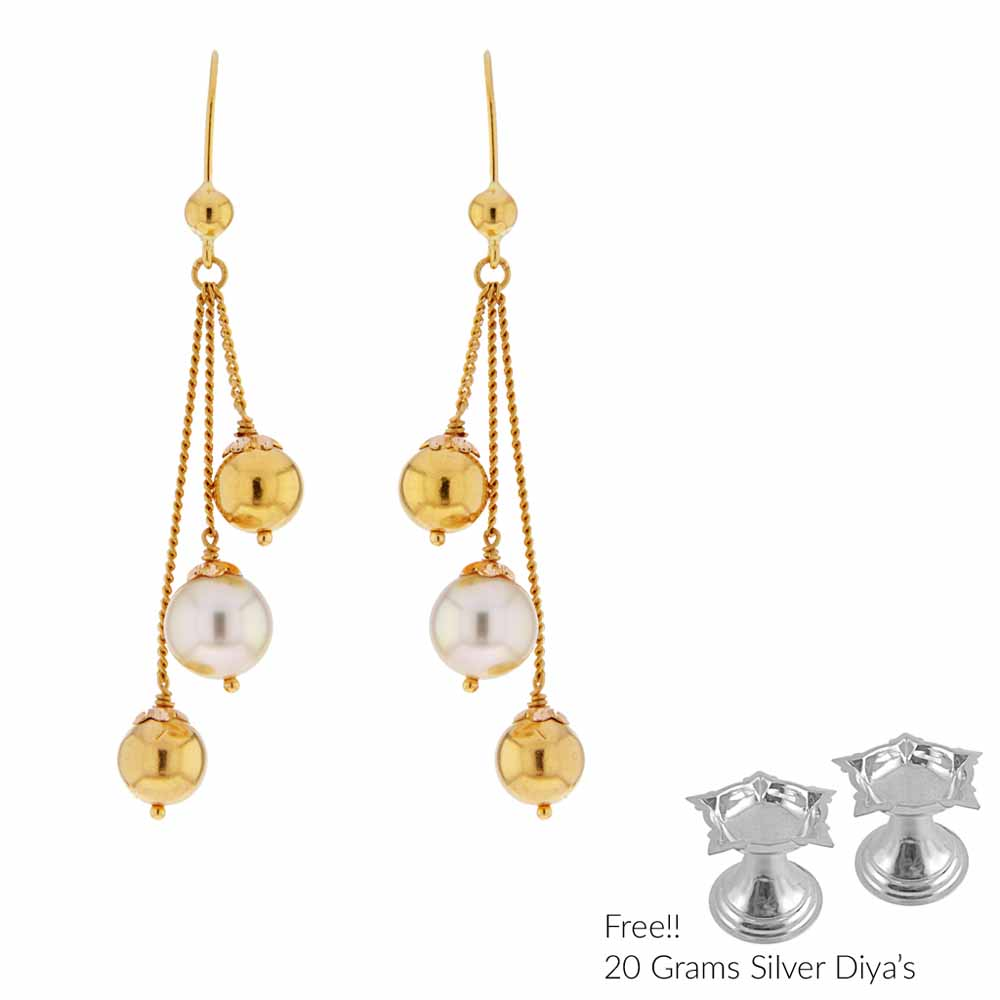 22Kt Gold And Pearl Hangings
