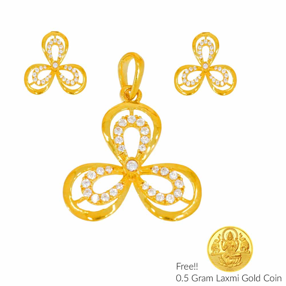 Gold Pendants-Luxuriousness 22Kt Gold Pendant Set