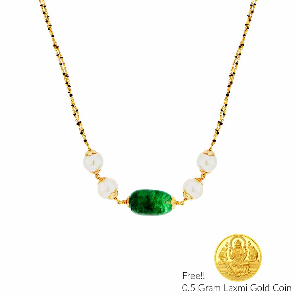 Pearls Charming 22Kt Emerald Gold Chain
