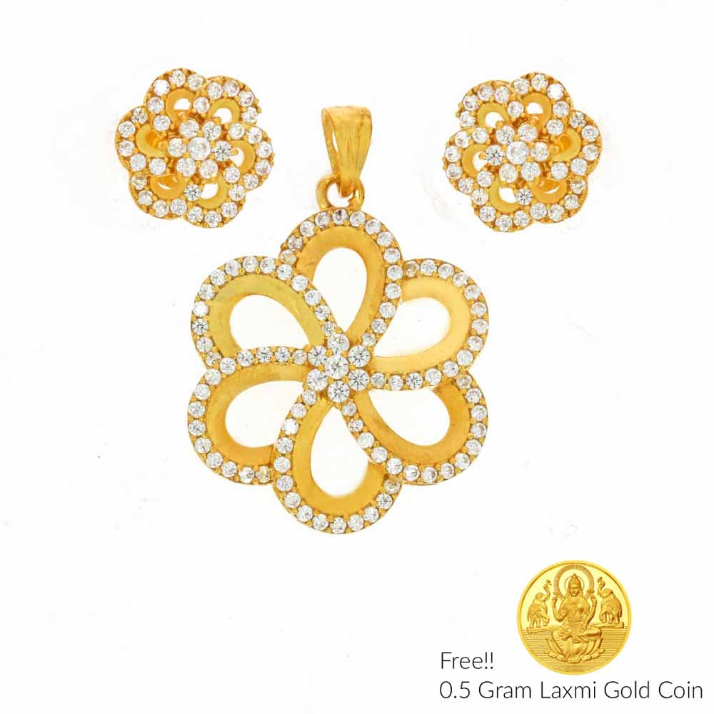 Flower Shape 22Kt Gold Pendant Set