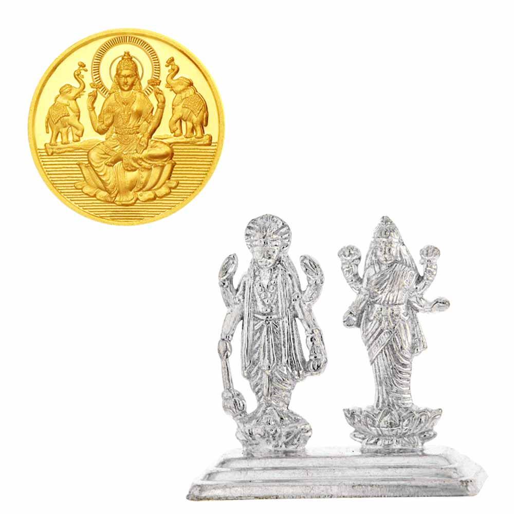 Gold Plated Idols-Laxmi Narayran Idol With Gold Coin