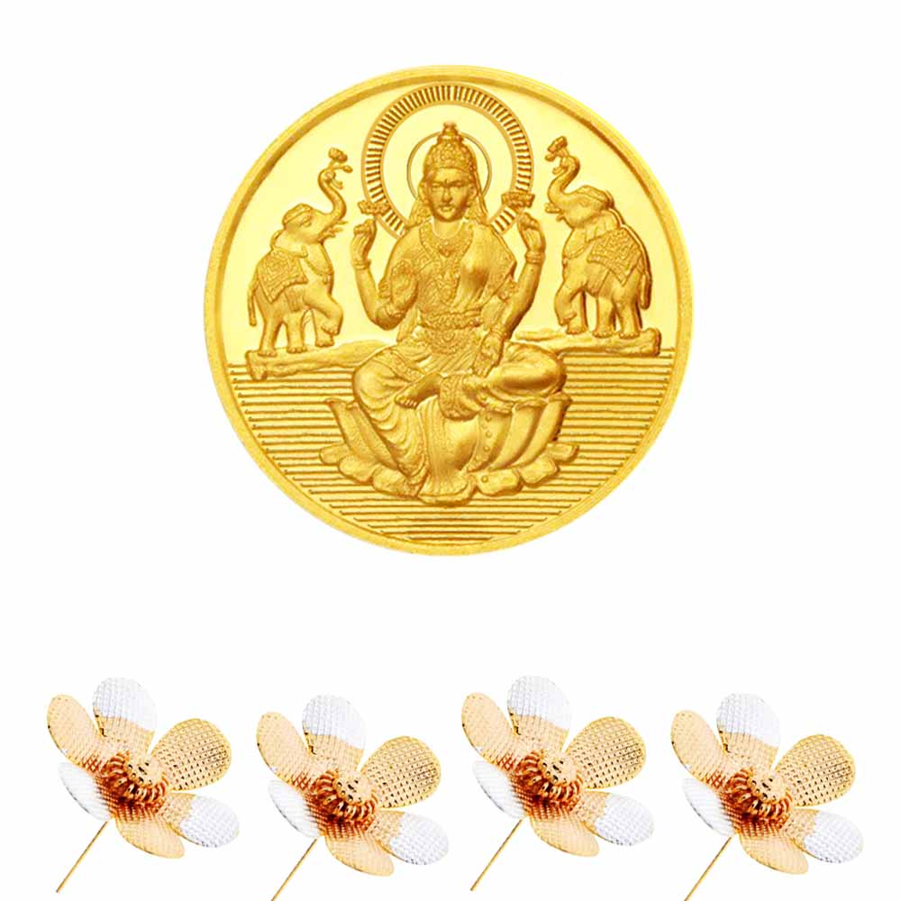 Laxmi Gold Coin With Silver Flowers