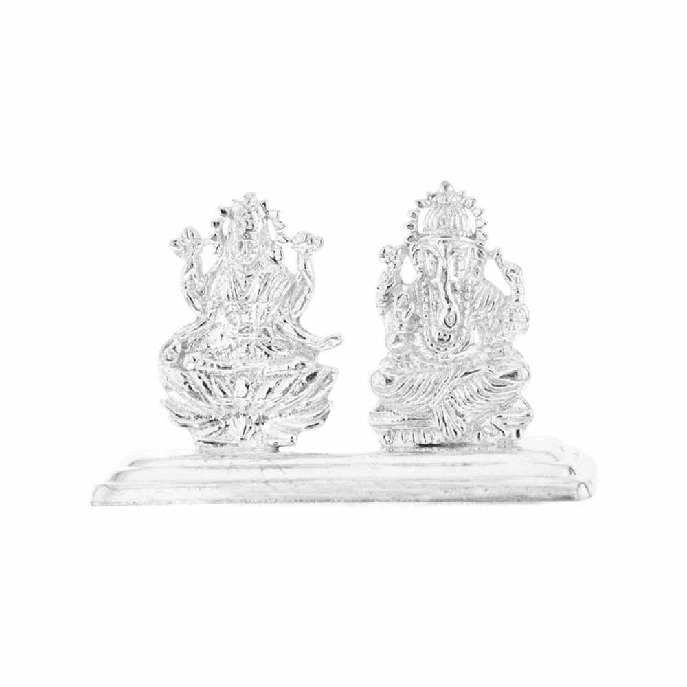 Silver Idols-Laxmi Ganesh Silver Idol