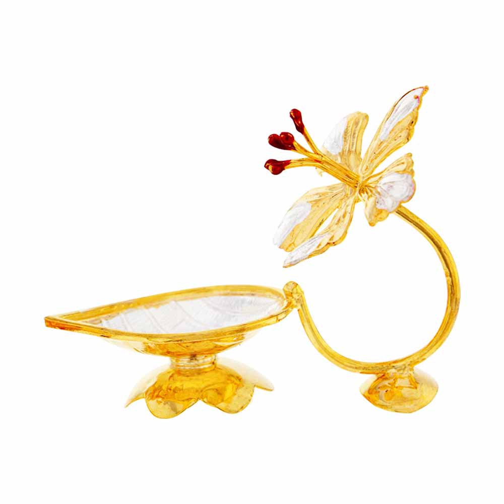 Flower Shape Golden Silver Diya
