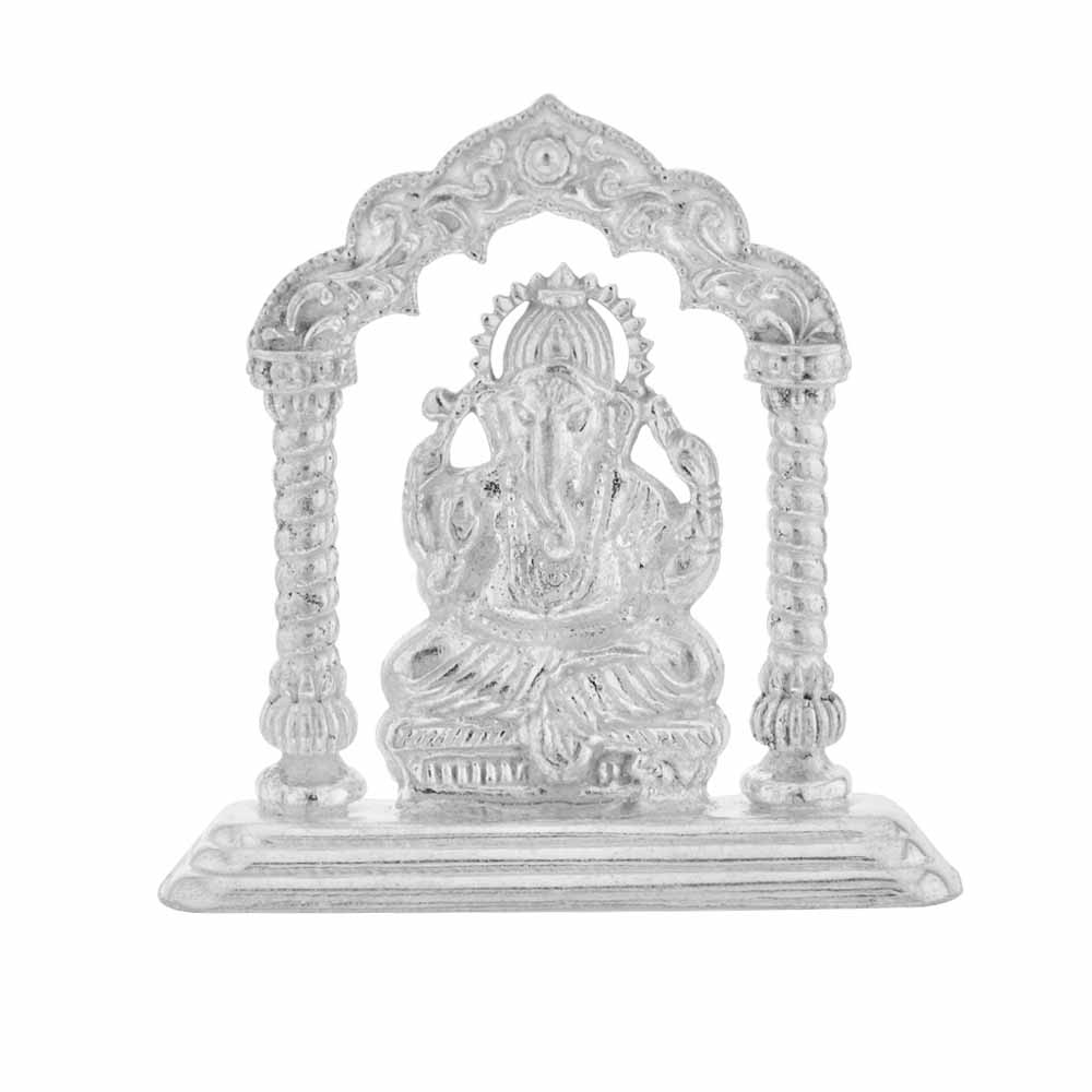 Silver Temple Ganesh Idol