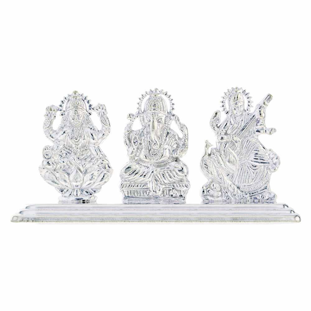 Silver Laxmi Ganesh Saraswathi Idol