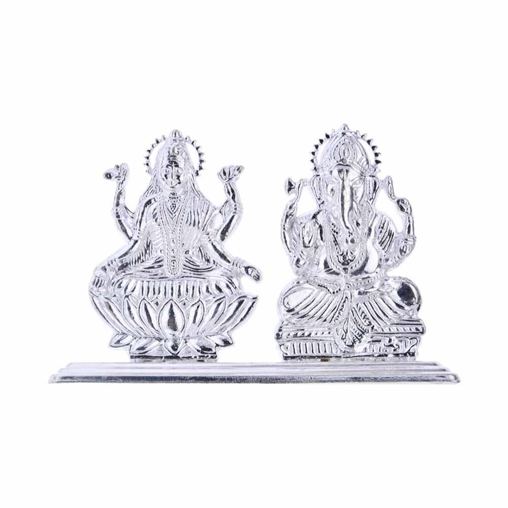 Laxmi Ganesh Silver Idol