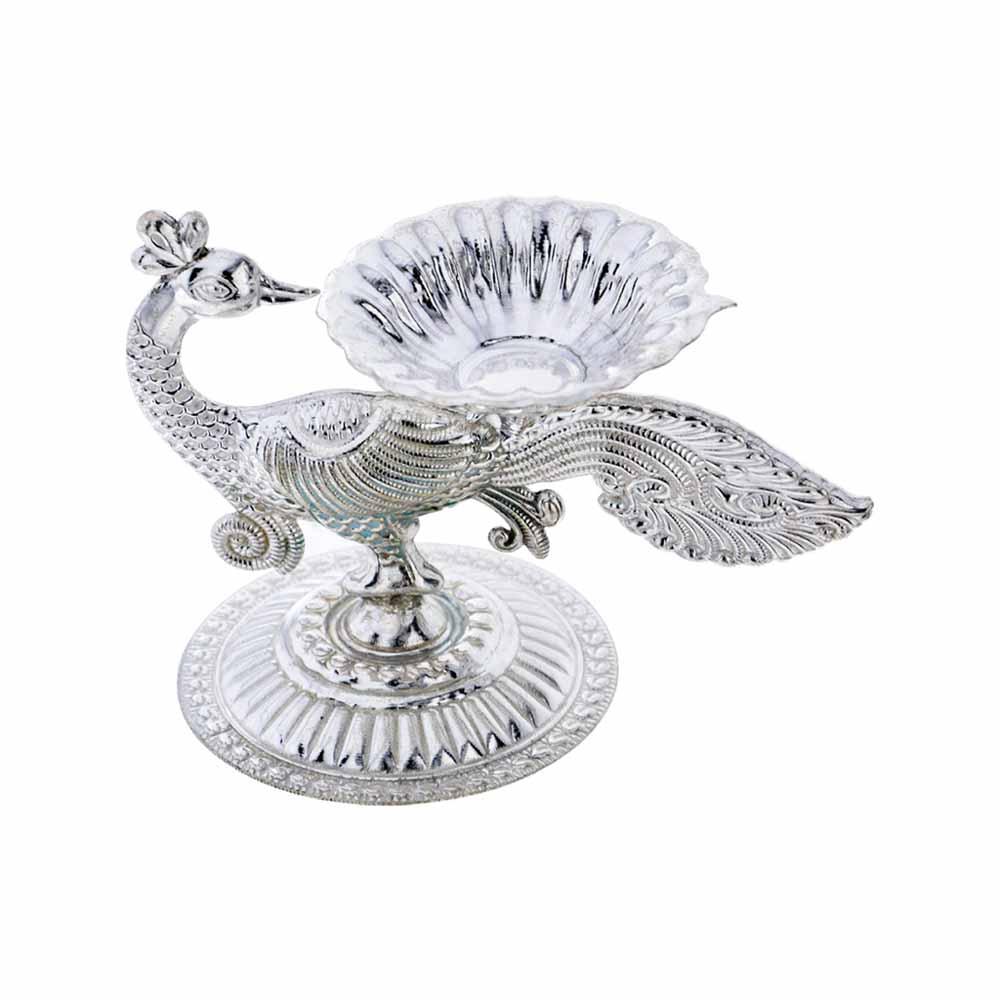 Silver Peacock Diya