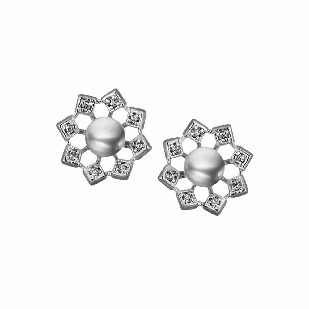 Surat Diamond Jewelry-Flower Cz Grey Earrings