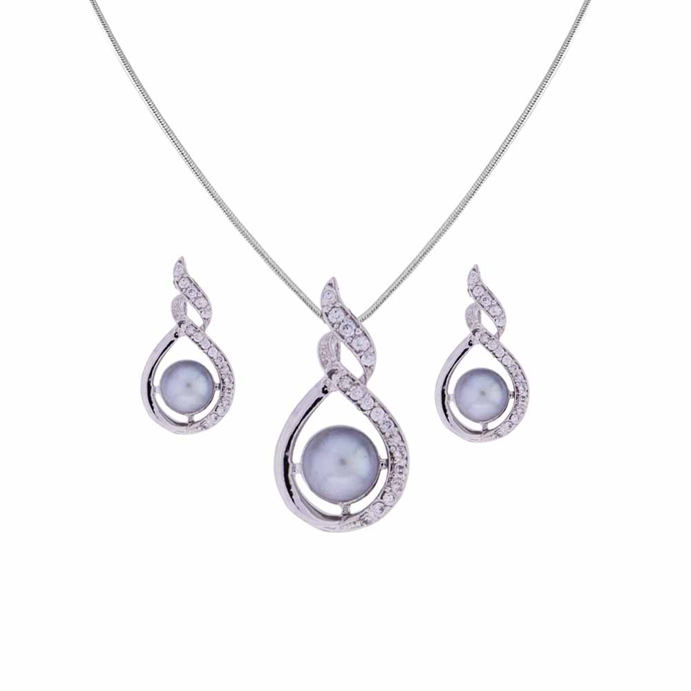 Surat Diamond-Lovely Grey Pearl Pendant Set