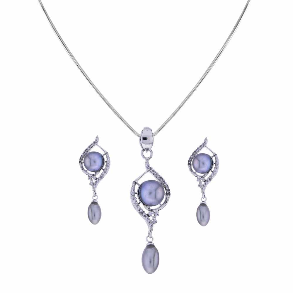 Surat Diamond-Grey pearl Drop Pendant Set