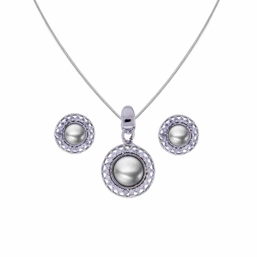 Pearl With Cz Pendant Set