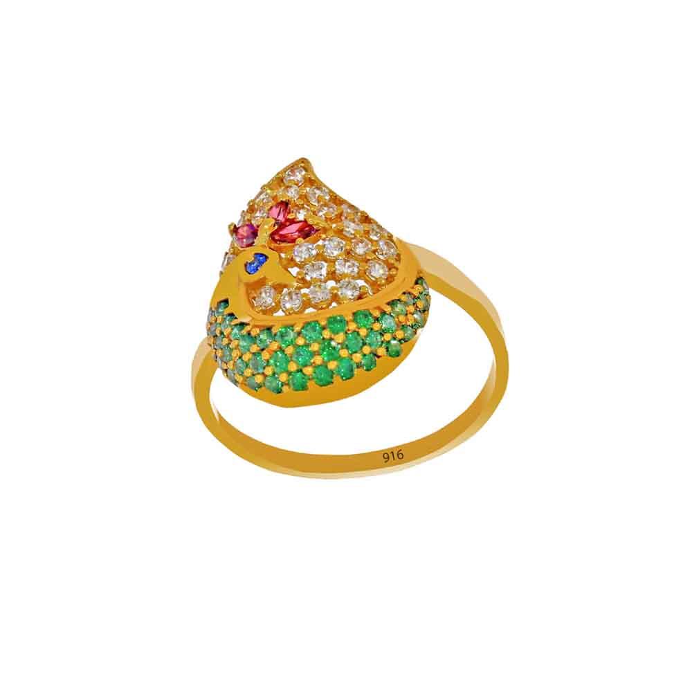 22kt Gold Colorful Finger Ring