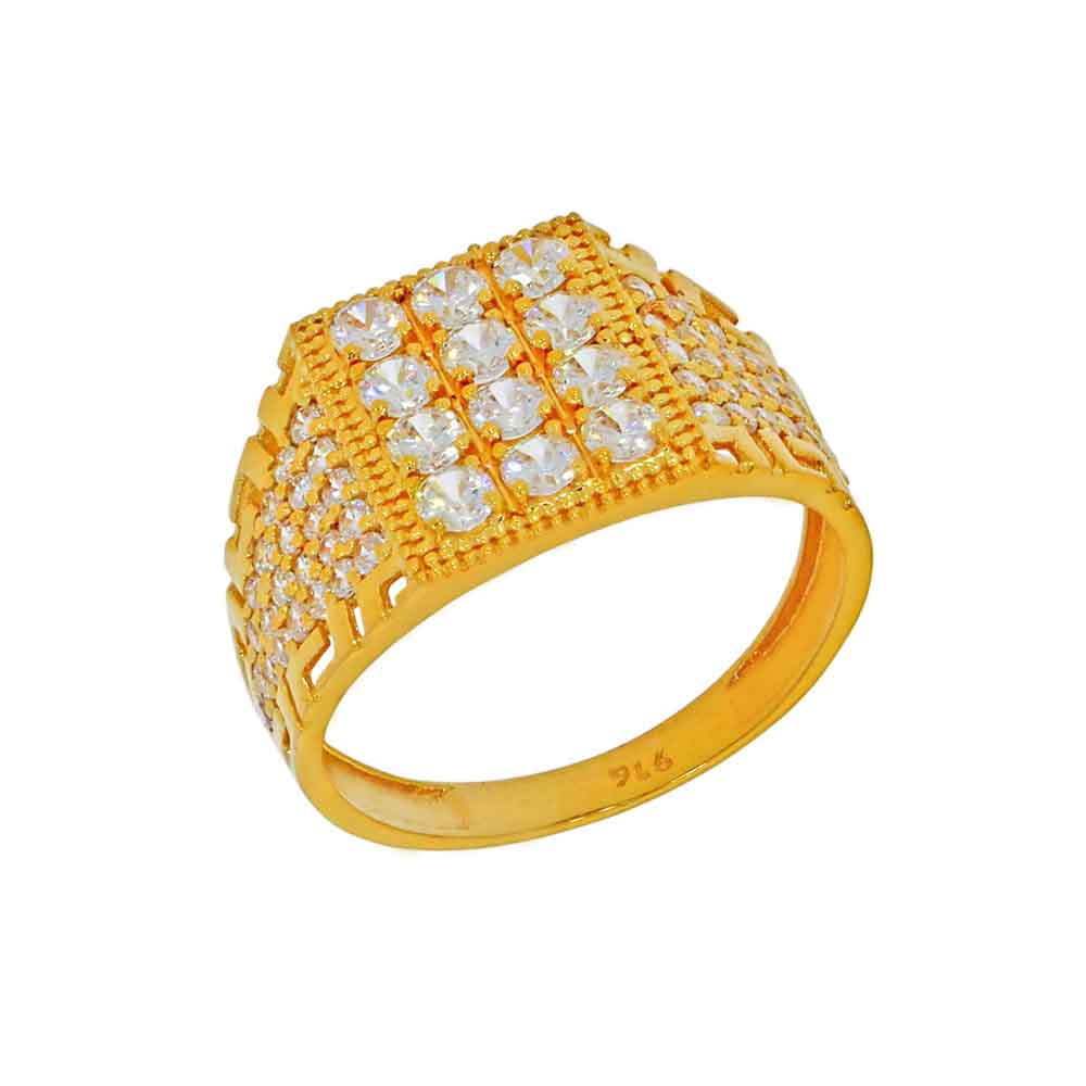 22kt Gold Cz Finger Ring