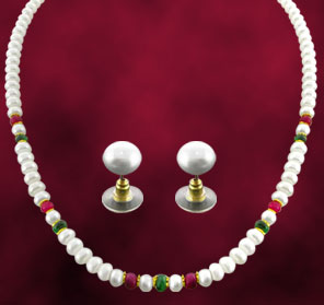 Jagdamba Real Ruby and Emerald Pearl Set