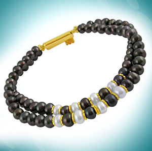 Jagdamba Two Row Black Pearl Bracelet