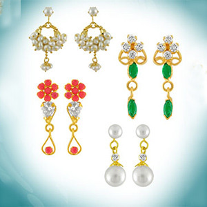 Jagdamba Combo of Four Earrings