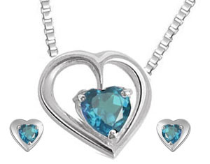 Heart Shaped Blue Topaz Earrings & Pendant Set