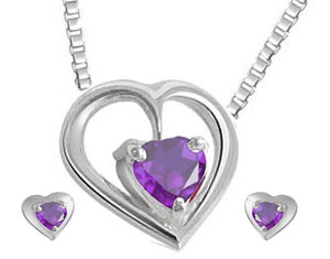 Heart Shaped Amethyst Earrings & Pendant Set