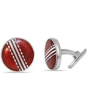 Cricket Ball Cufflinks in Silver