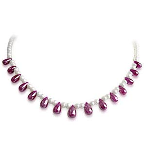 Pearl Necklaces-Beautiful Pearl & Drop Shaped Ruby Necklace