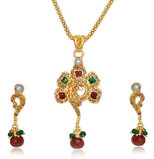 Flower Shaped Gold Plated Necklace & Earrings Set