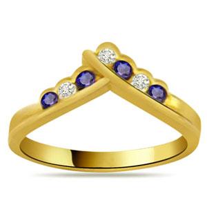 Diamond-Diamond & Sapphire Ring