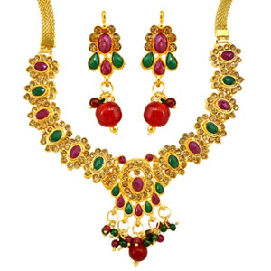 Traditonal Rajasthani Polki Necklace & Earrings Set