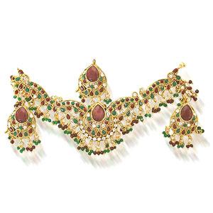 Precious Stone Sets-Maharani Necklace Earrings Set