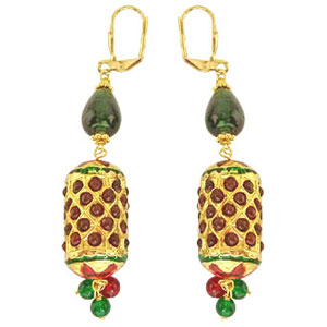 Traditonal Cylinger Shaped Kundan Earrings