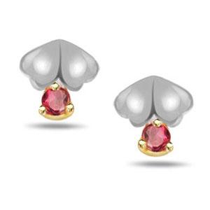 Gold Earrings-Gold & Ruby Earrings