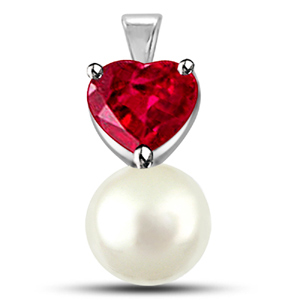 Ruby & Pearl Gold Pendant