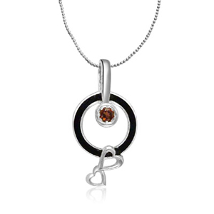 Silver & Garnet Heart Pendant with Chain