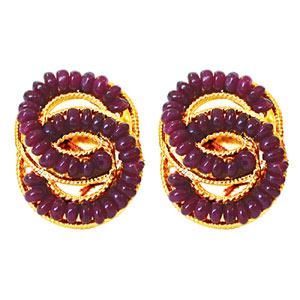 Metal Earrings with Red Rubies