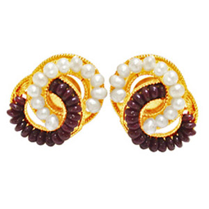 Metal Earrings with Rubies & Pearls