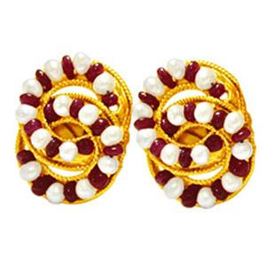Metal Earrings with Rubies & Pearls