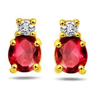 Diamond Earrings-Diamond & Ruby Earrings