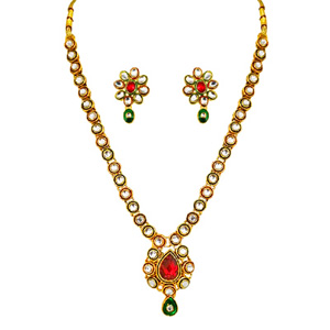 Red & Green Polki Necklace & Earrings Set