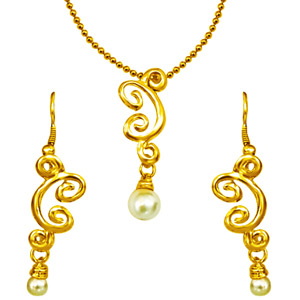 Gold Plated Pearl Pendant Set